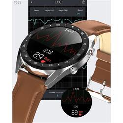 שעון ספורט smart watch חכם עם רצועת עור מד דופק ,מד לחץ דם ,מד צעדים, מדידת מרחק ECG