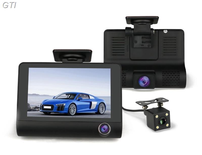 מצלמת דרך לרכב 360 מעלות עם צג ענק 4 אינץ ו- 3 עדשות כולל תפריט הפעלה בעברית